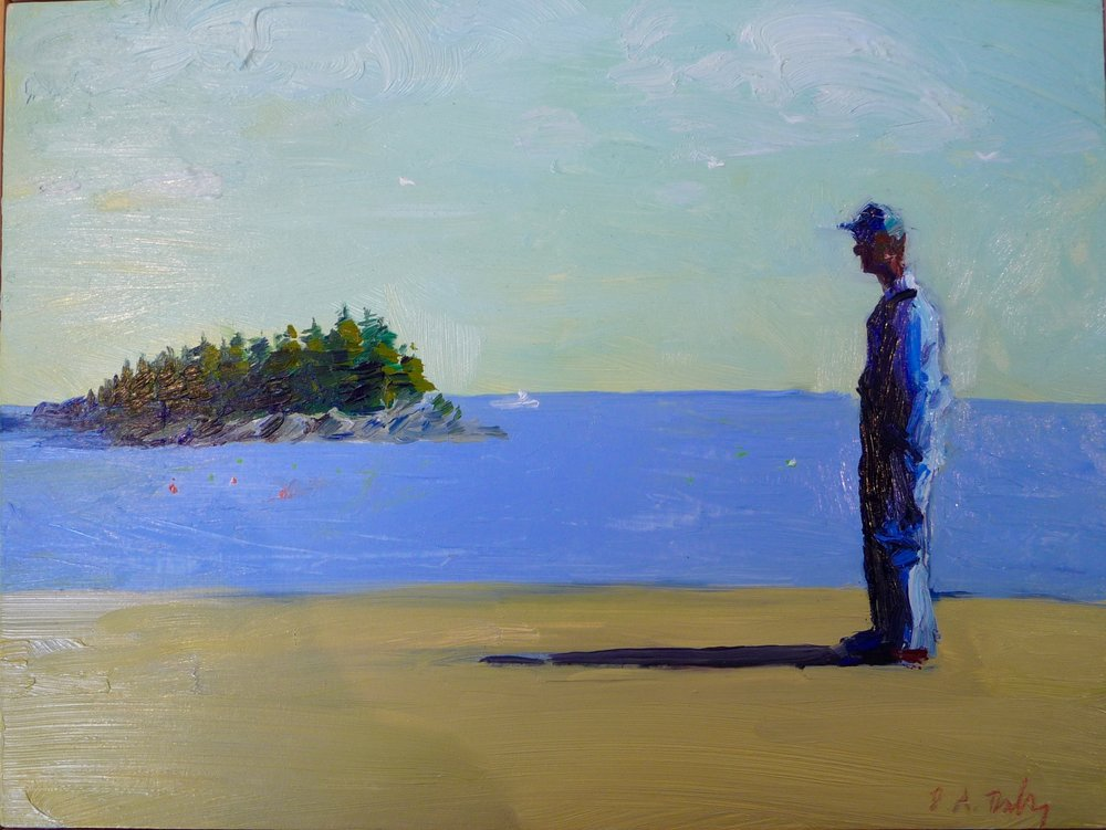 Mainer, oil on panel, framed 13x10.