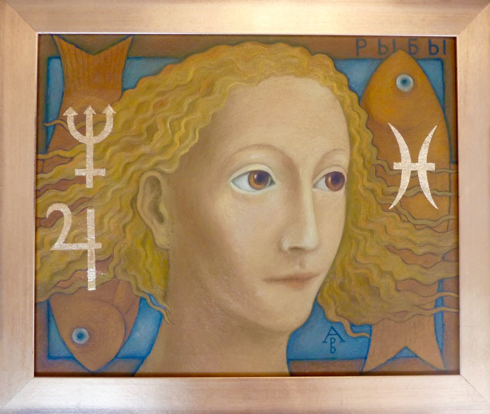 Pisces, oil on panel, framed 23x19, SOLD