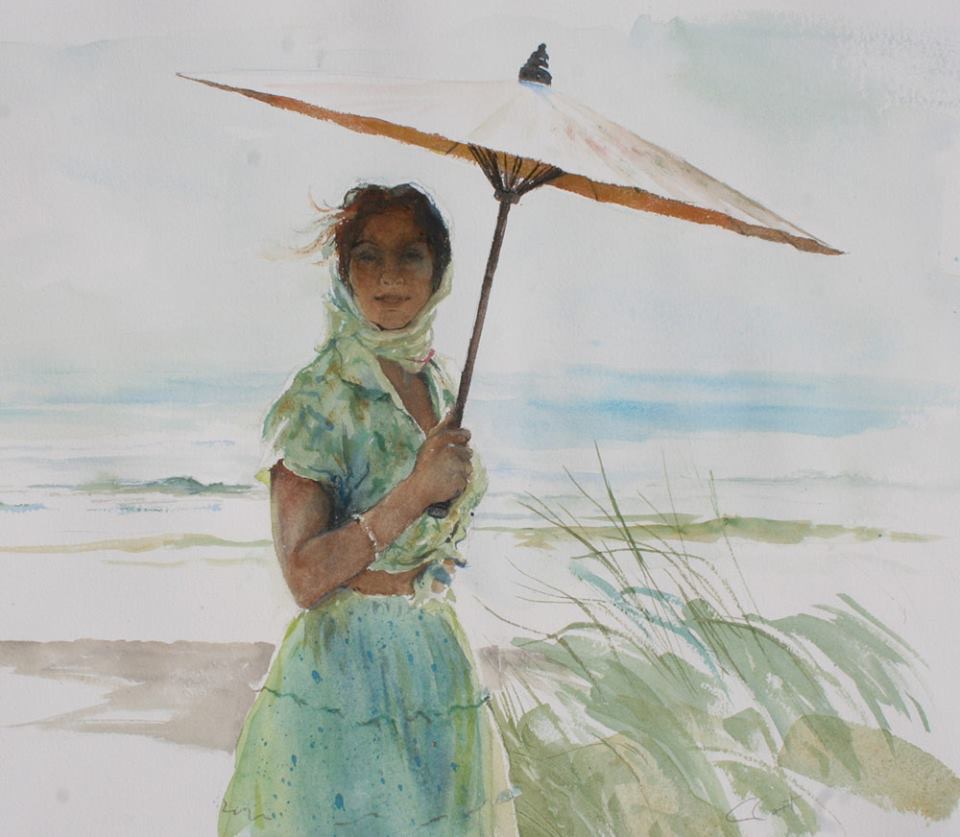 Parasol,  watercolor, 25x24.  $2800.