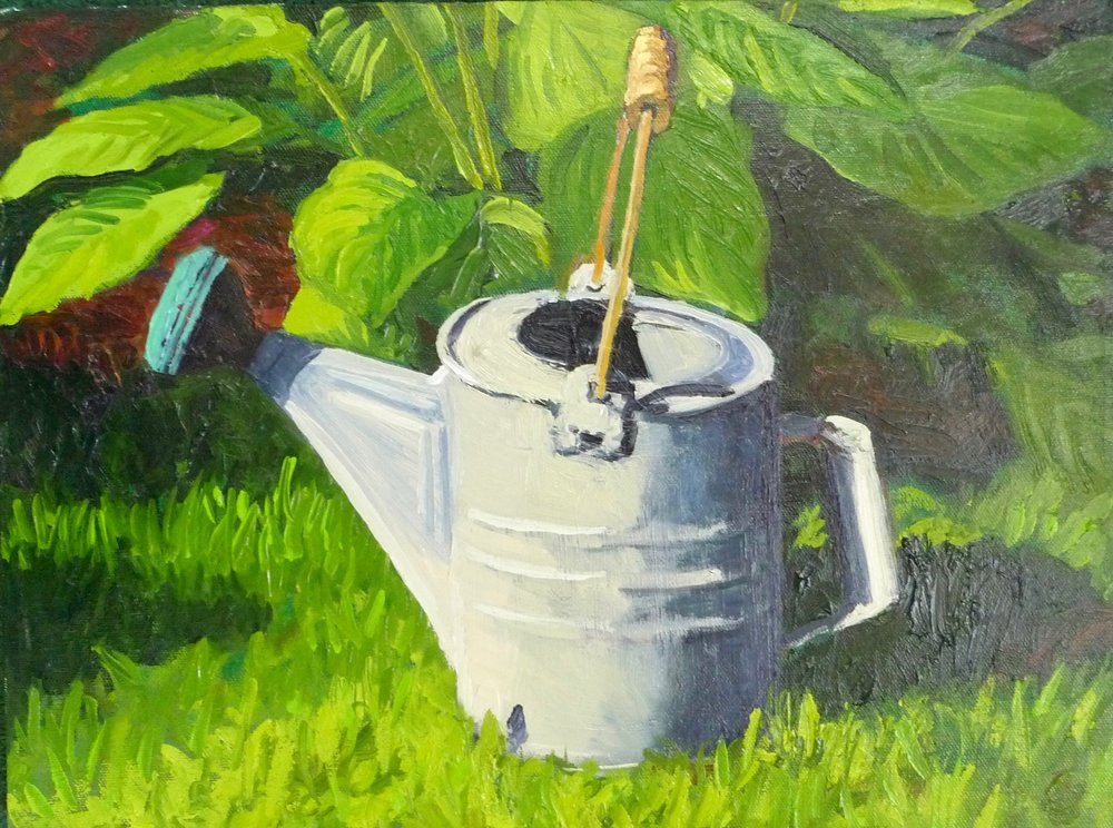 Watering Cans, oil on canvas, 16x12.