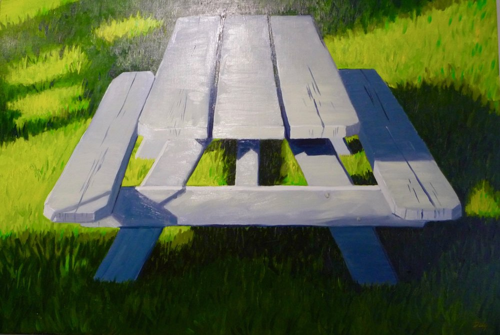 Picnic Table, oil on linen, 28x40.