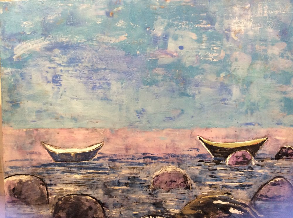 Two Boats, Low Tide, 24x30.