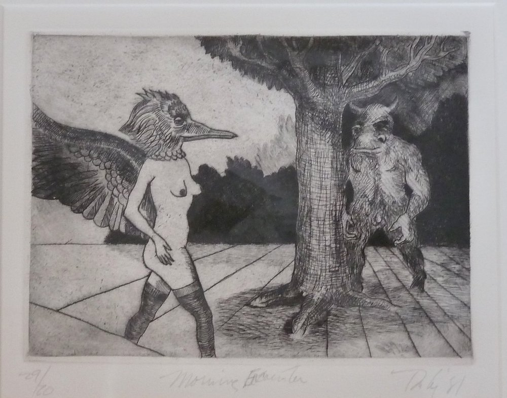 Morning Encounter, etching, framed 15x13.5.