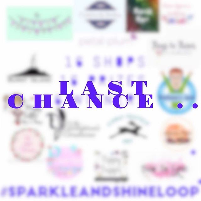 Last chance to enter the #sparkleandshineloop giveaway. The competition ends at 8pm tonight. Scroll back through my posts to find out how to enter! #giveaway