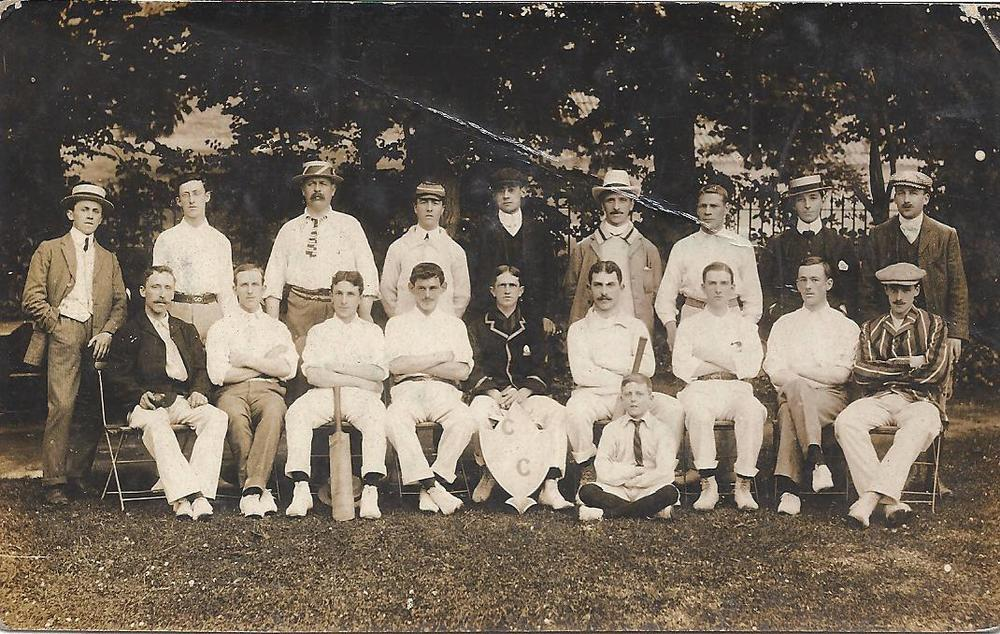 Burnahm-on-sea Cricket Club 1906 back row l to rt P G Edwards (sec) A Sully (2nd xi Capt) A MundyE Luxon E Harford (scorer) J. M Dryerre E Stone N J Peterham E Pill (Sec) Back row l to rt H Rogers A Lang A J Palmer A Nunley W Halse-Tucker (1st xi Capt) W A Young H Cox W Allen Seated on ground D R Brooks