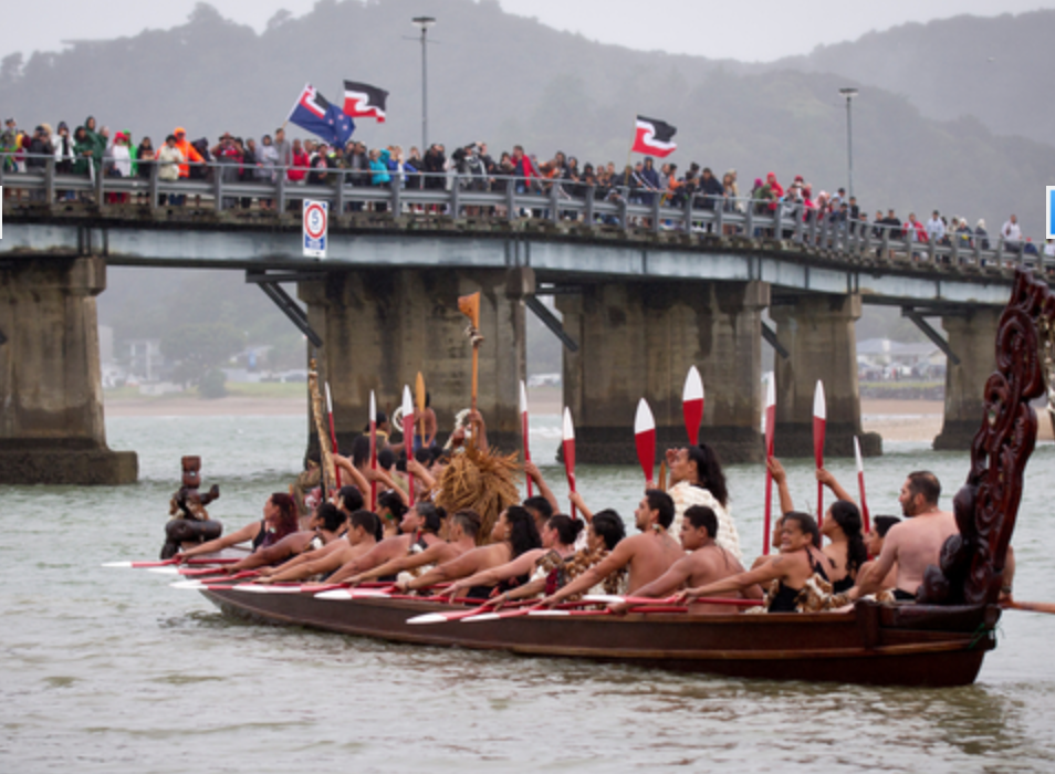 The Waka crews take part in the celebrations on a wet and cold Waitangi Day held at Waitangi, Northland. Photo / Dean Purcell