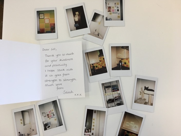 A customer from England sent an incredible letter, card, and polaroid photos of where she placed her affirmations in her home!