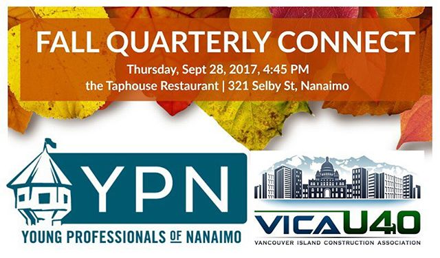 We are excited to be pairing up with #vicau40 to bring you your fall Quarterly Connect. It's all happening on Sept 28th at 4:45 at @taphouse.pub  in Nanaimo. Check the link in our @ypnanaimo description for the FB event. Hope to see you there!