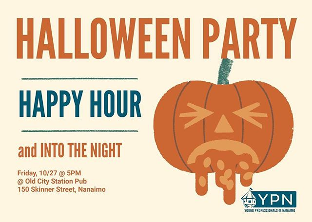 We're staying in town tonight and having an extended happy hour @theoldcitystationpub. Join us for happy hour, snacks, candy and costume prizes. #ypnanaimo #halloween #happyhour