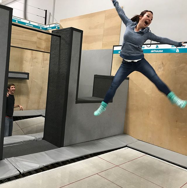 Catching mega air @theairhouse last night for the #YPNanaimo inaugural #Tryit. Our next one will be January 19th at @vanisleaxe. Looking forward to throwing sharp things around!