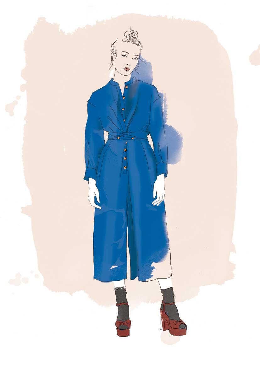 Ilustración con acuarela realizada por Judit García-Talavera para la marca de ropa Heinui