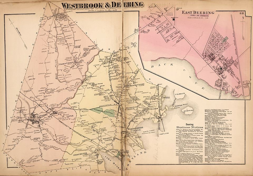 Map of Westbrook and Deering, 1871