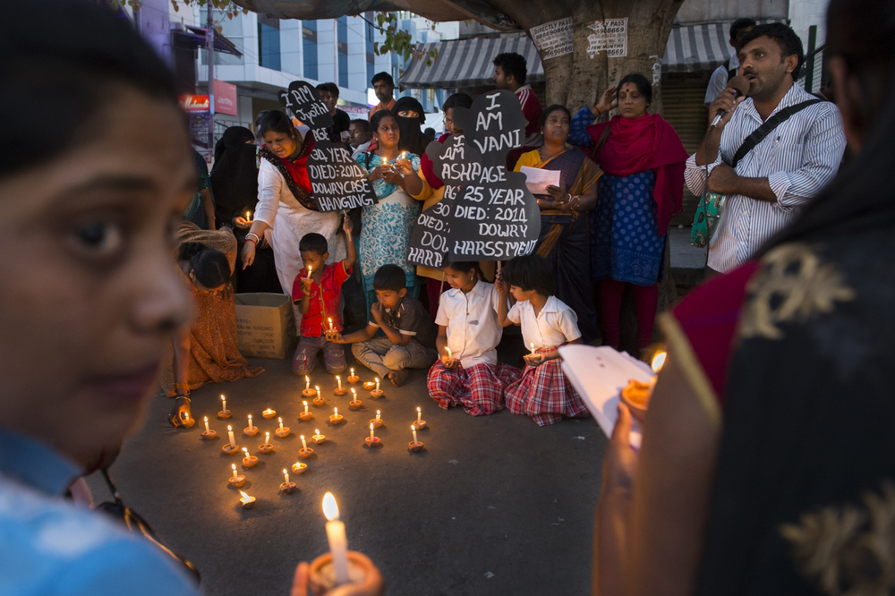 Members of Vimochana bring their campaign in opposition to violence against women to a busy intersection of Bangalore, India.