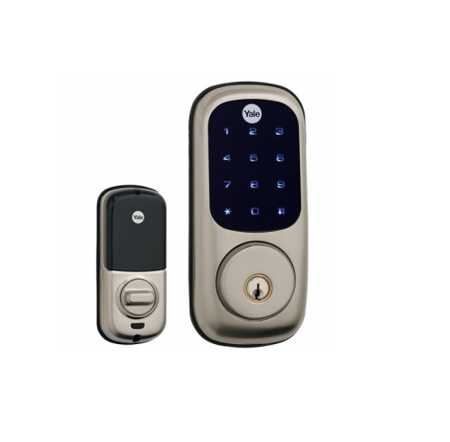 Smallest residential keypad to enhance curb appeal  Fast Z-Wave® enrollment with the push of a button  Universal lock and program symbols for ease-of-use  Enhanced interior design to reduce complexity and installation time  The Features You Need with the Quality You Expect.  Motorized tapered deadbolt  Fully gasketed installation  4AA batteries included  9V battery backup  Illuminated keypad  Certified ANSI/ BHMA Grade 2