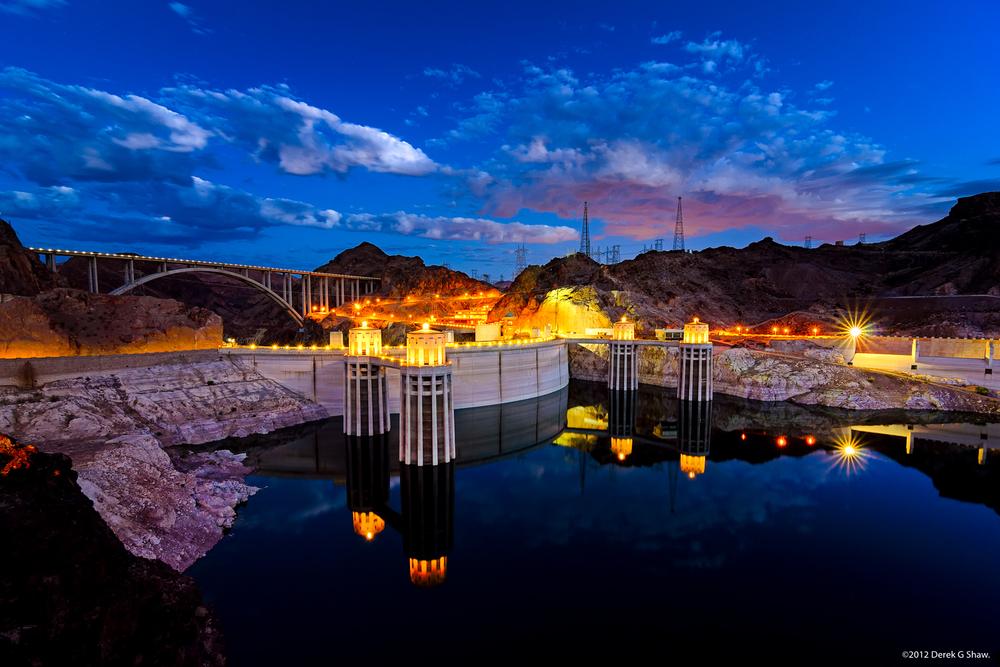 Twilight at Hoover Dam