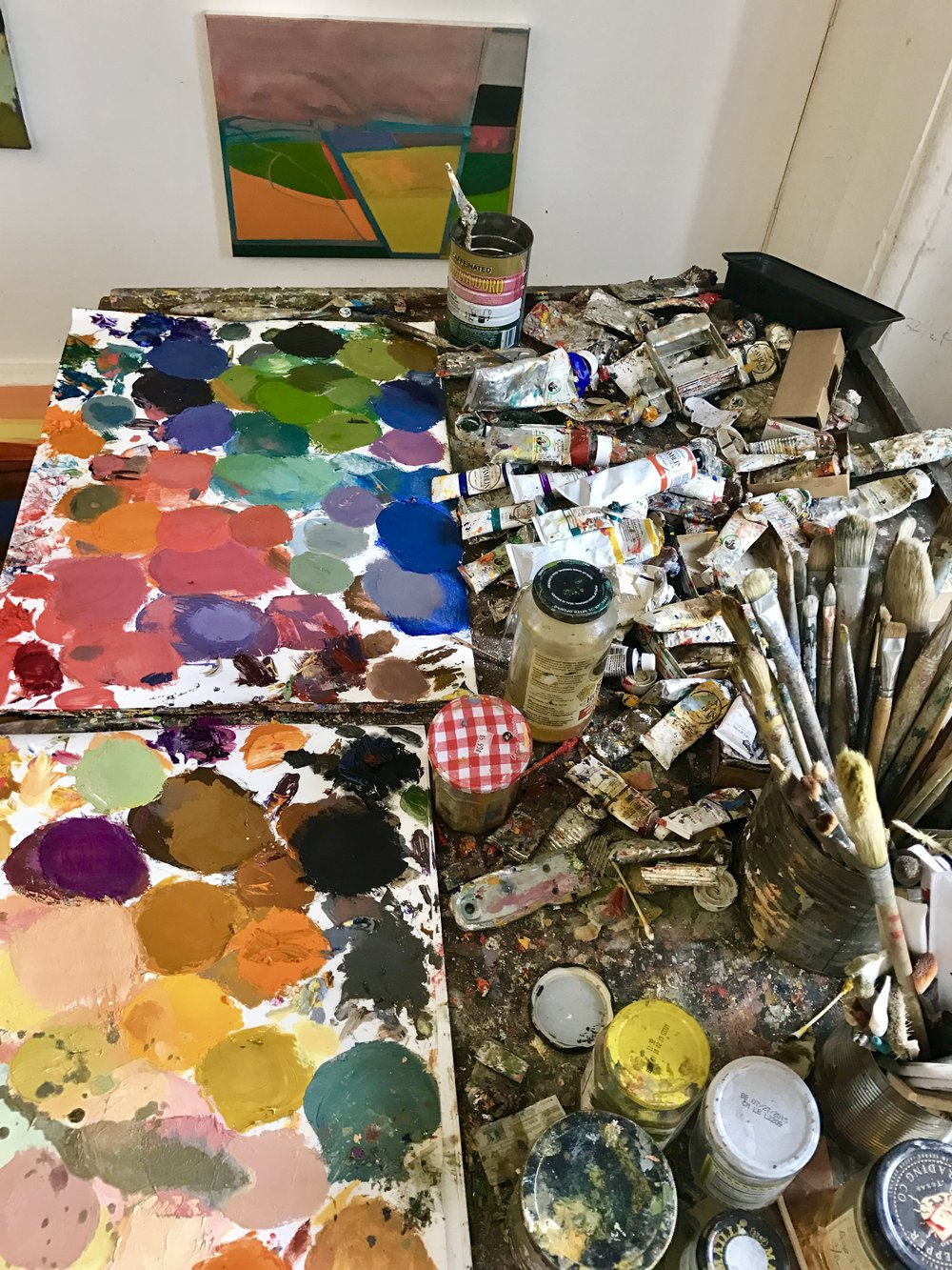 The paints and brushes Elizabeth Hazan uses for her work.