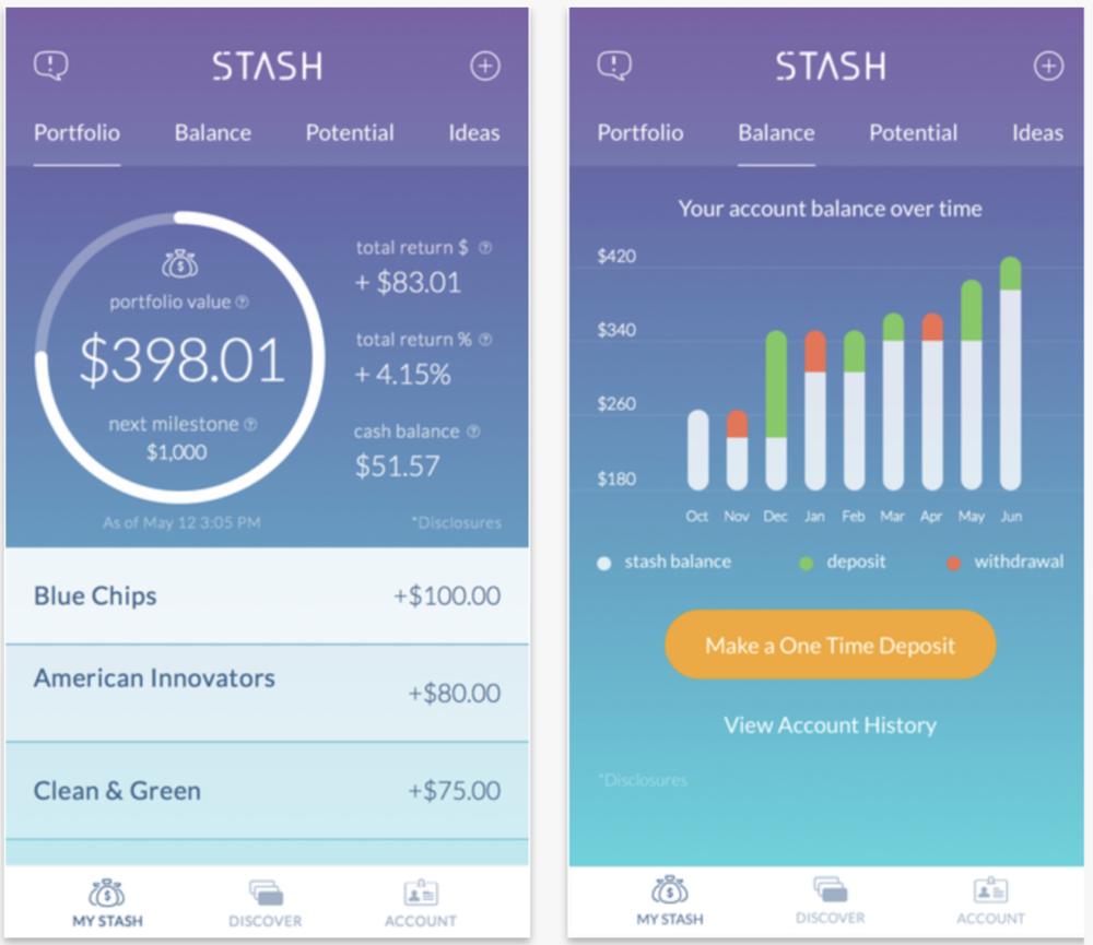 User interface of Stash
