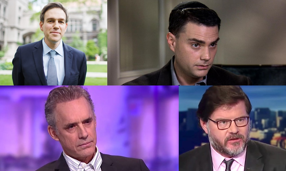 Brett Stephens (top left), Ben Shapiro (top right),  Jordan Peterson (bottom left) and Jonah Goldberg (bottom right).