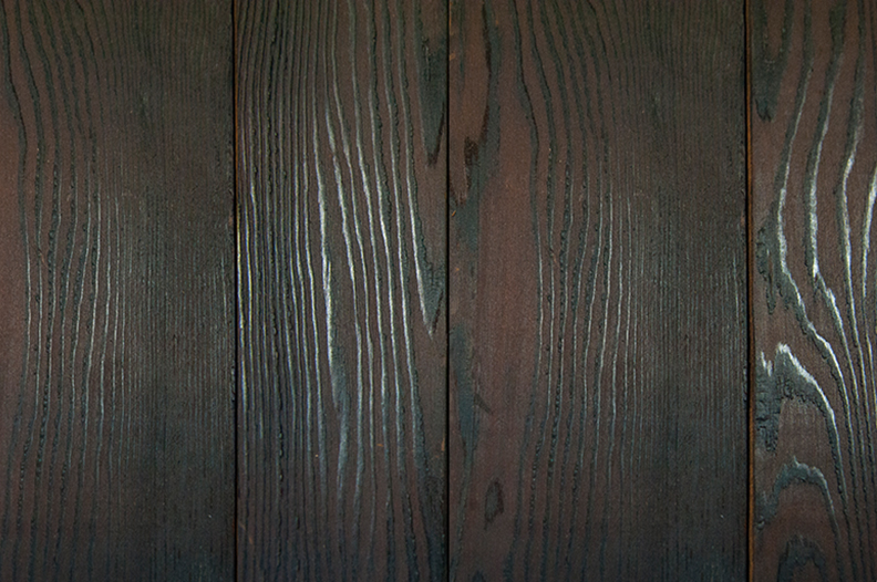 Douglas fir-charred & brushed