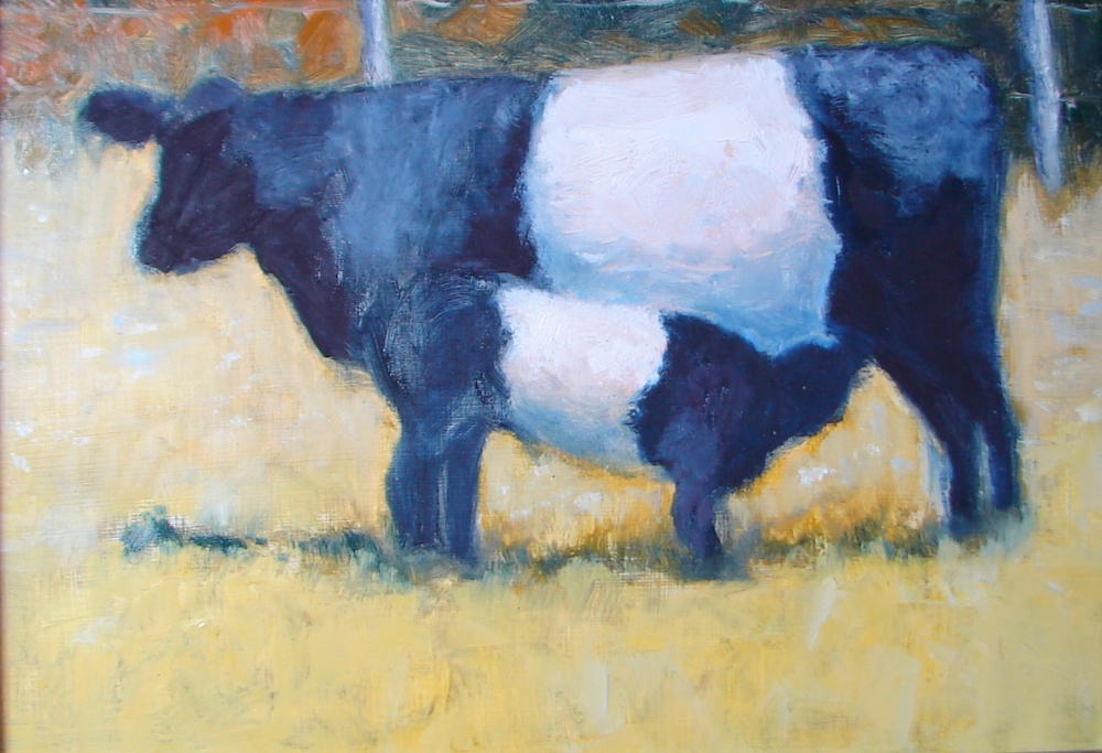 """Beltie Cow and Calf, oil on panel 6x8"""" 2014"""