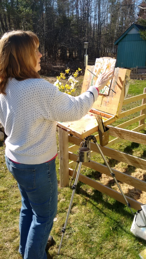 Painting in my backyard on an April day too nice to be indoors.