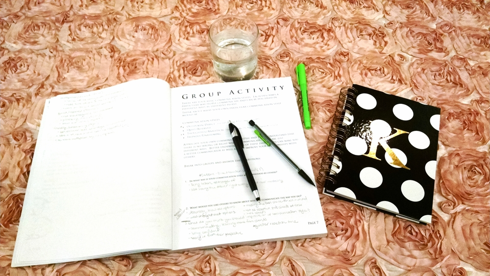 The tables were covered in this beautiful floral linen... and yes, I used my pen, pencil, and highlighter throughout the entire time... I really am that organized.