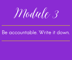 Module 3.  Be accountable. Write it down. And don't lie- Owning your failures is infinitely more valuable than denying them.