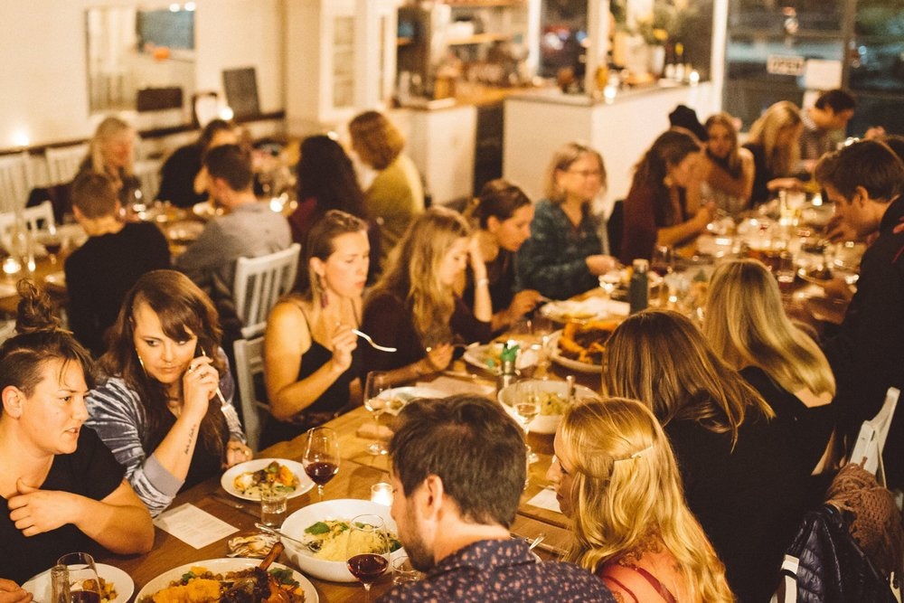 FEAST - Dinners held at Tournant are intimate yet convivial affairs.Guests are invited to mingle over a glass of wine and a variety of small bites before being seated at long communal tables to share a seasonally focused family-style meal and plated dessert.