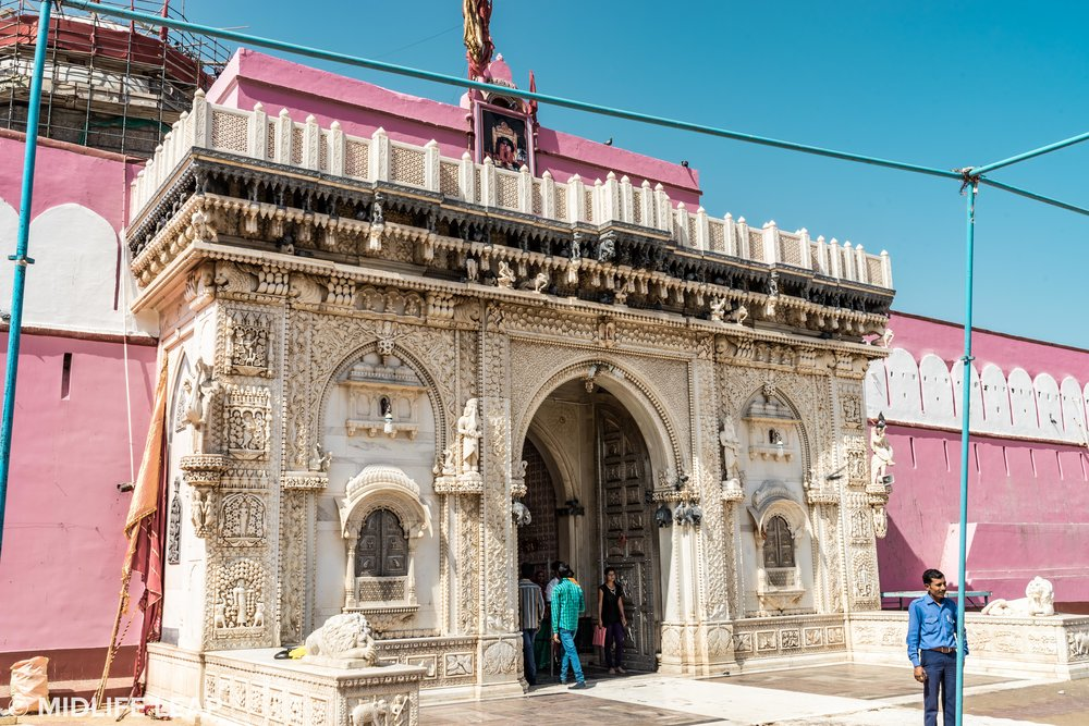 The exterior of the Karni Mata Temple (very simple compared to most temples in India). PS. Thats Ram out front!