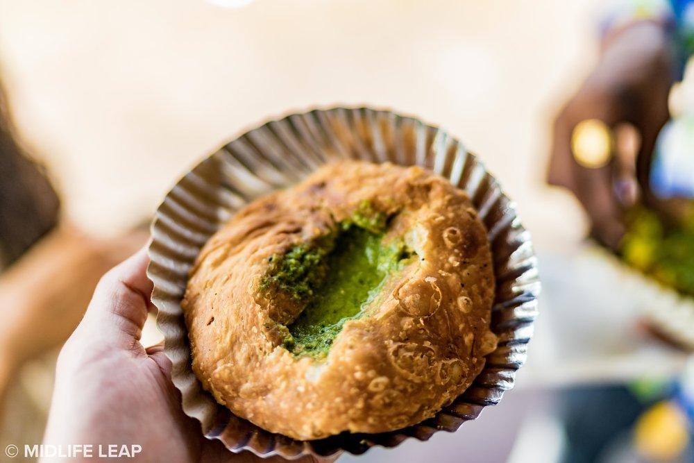 Pyaaz Ki Kachori with spicy green chutney