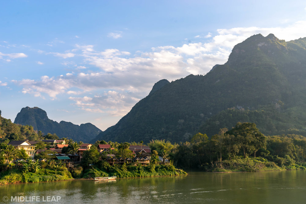 Nong Khiaw! Spoiler alert: we did NOT stay in any of those beautiful bungalows.