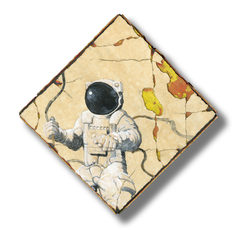 Astronaut, acrylic on wood, 6×6″
