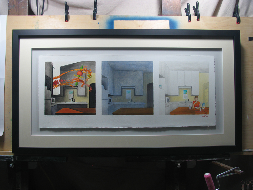 Abstract Apparition Seeking Shelter From The Coming Dawn, oil on paper, Triptych 12×30″