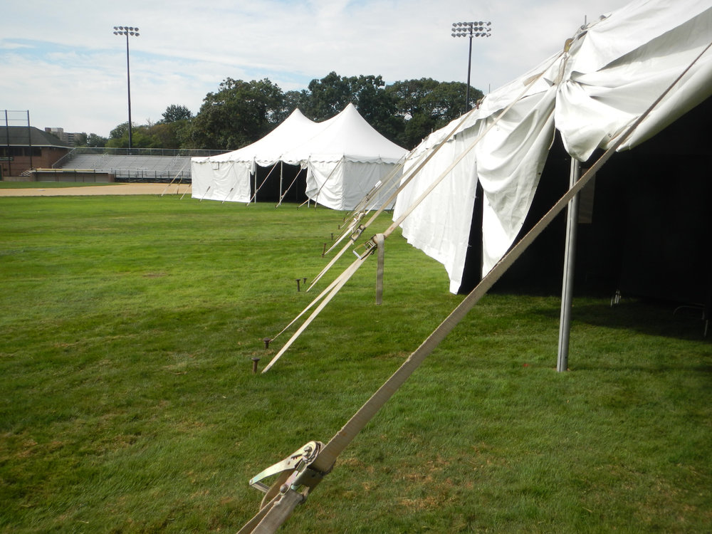 The empty tents on Adams Field