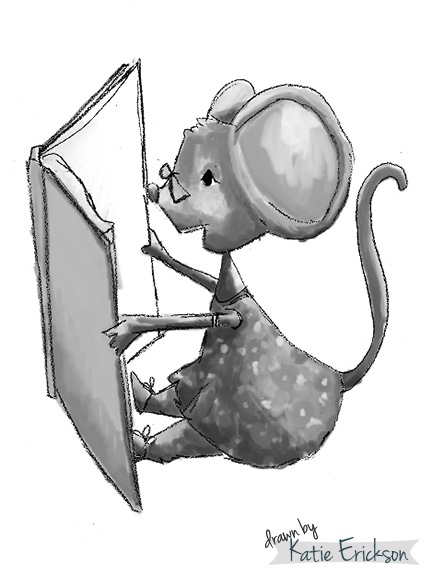 Mouse Librarian Reading Black and White