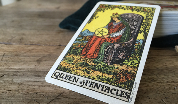 Queen of Pentacles from Smith-Waite Tarot Deck