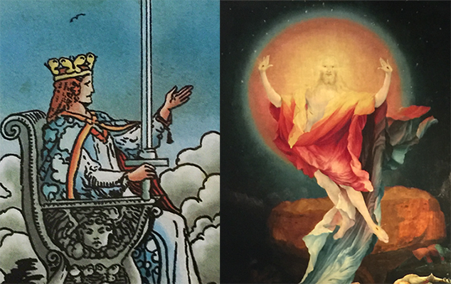 (L) Queen of Swords, RWS Tarot (Pamela Colman Smith), Lo Scarabeo, 2017; (R) Isenheim Altarpiece, Unterlinden Museum, Colmar FR