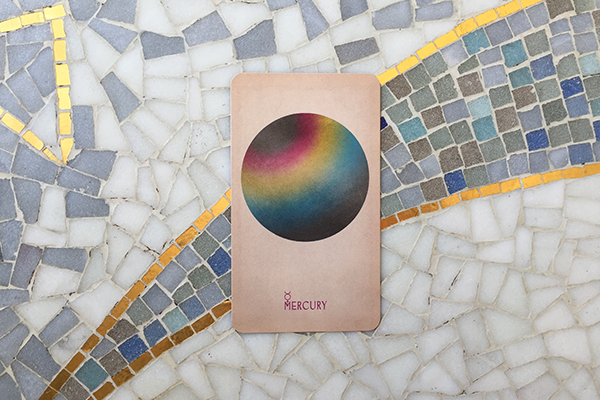 "Mercury card from ""Arcana of Astrology"", (c)  Claire Goodchild / Black and the Moon , 2017"