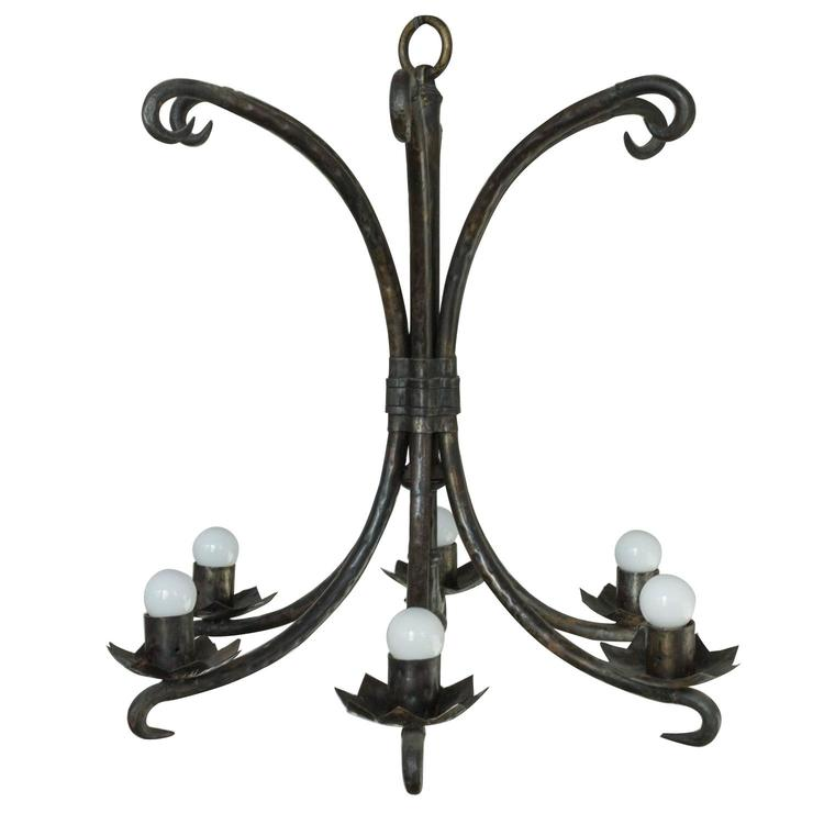 Spanish wrought iron chandelier 145 antiques spanish wrought iron chandelier aloadofball Image collections