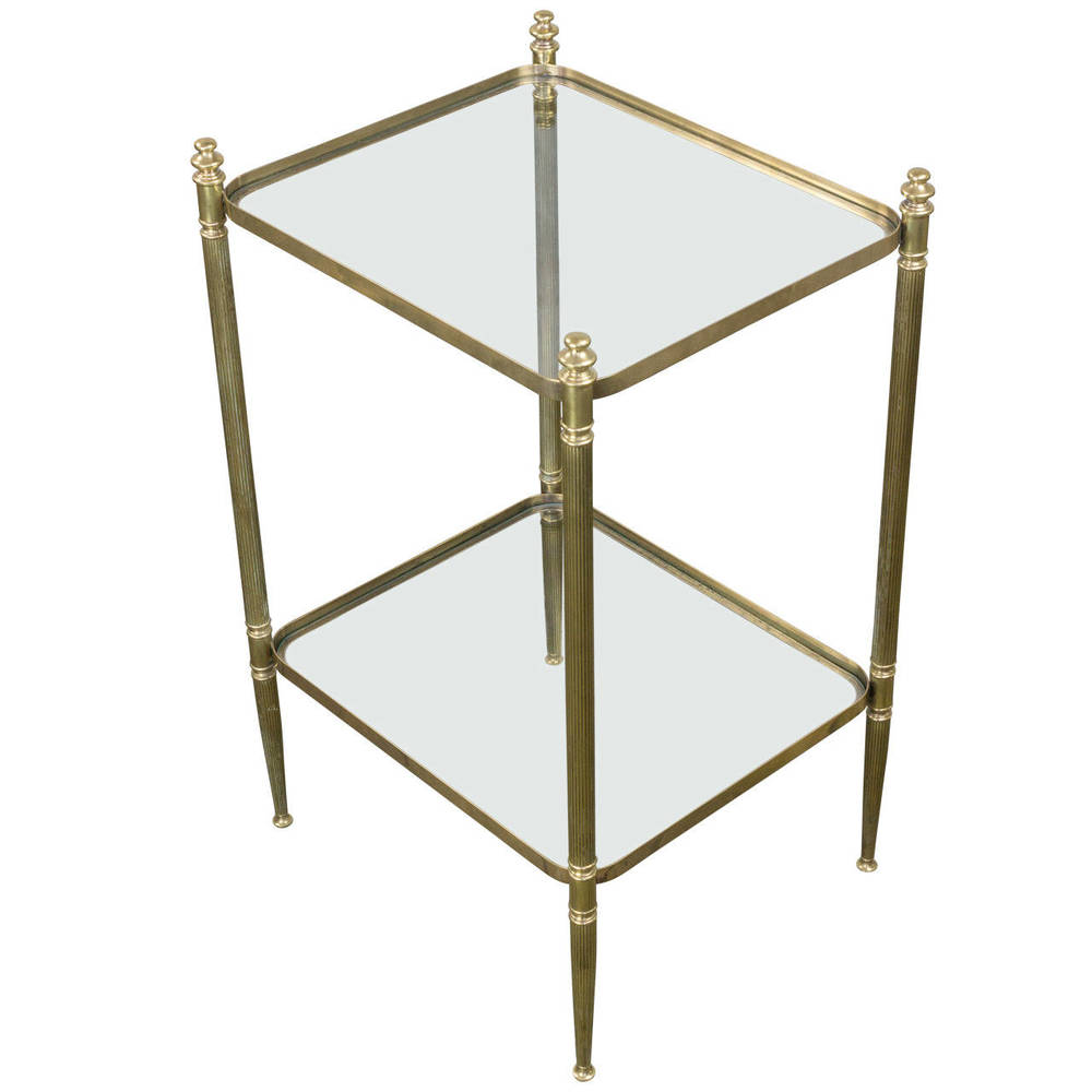 Two Tiered Brass End Table