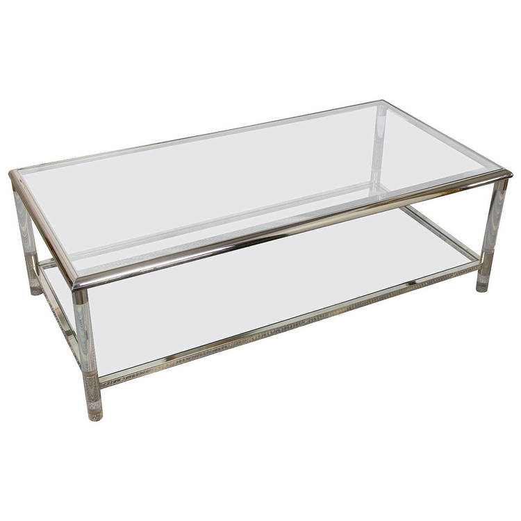 Mid Century Lucite Glass Coffee Table 145 Antiques