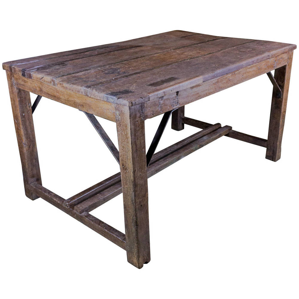 French Industrial Work Table