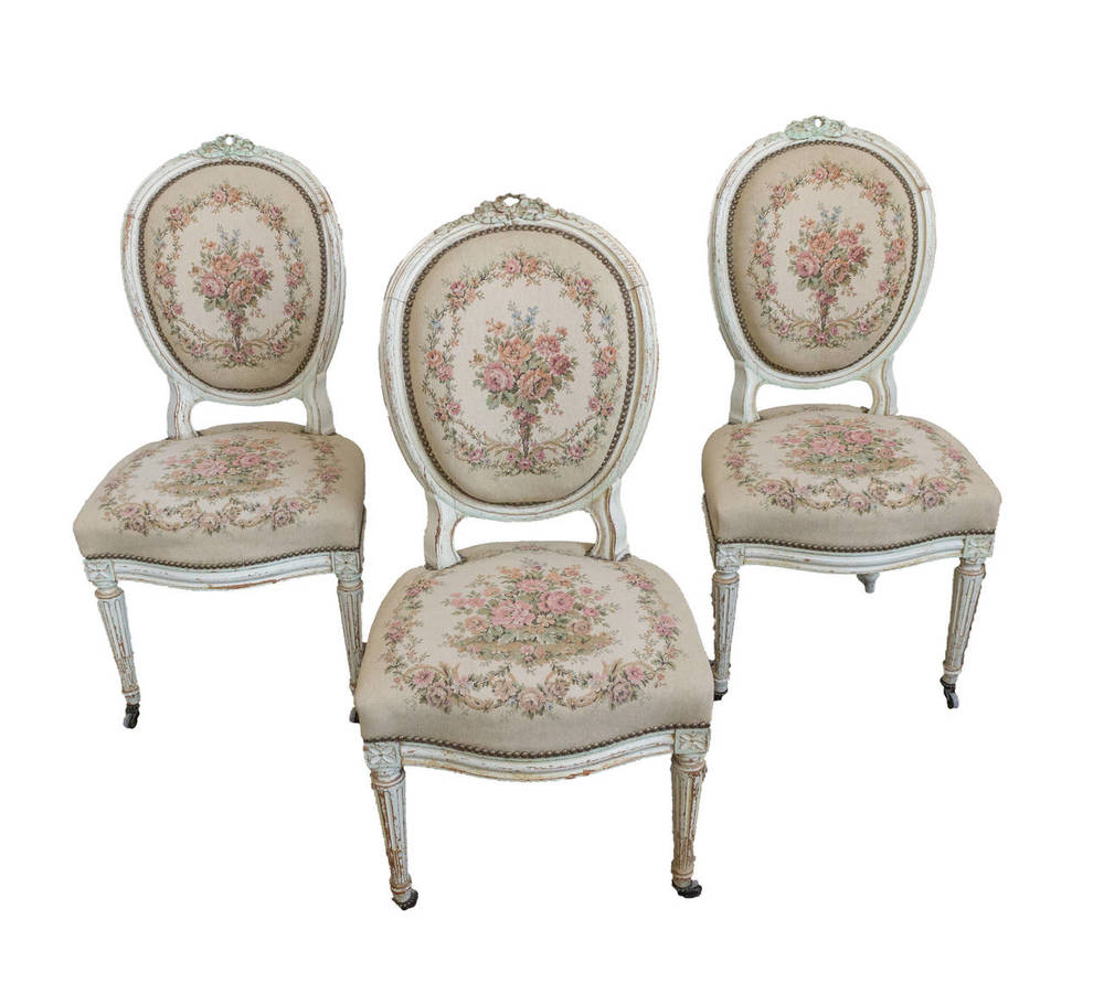 Set Of 3 French 19th C Louis XVI Style Side Chairs
