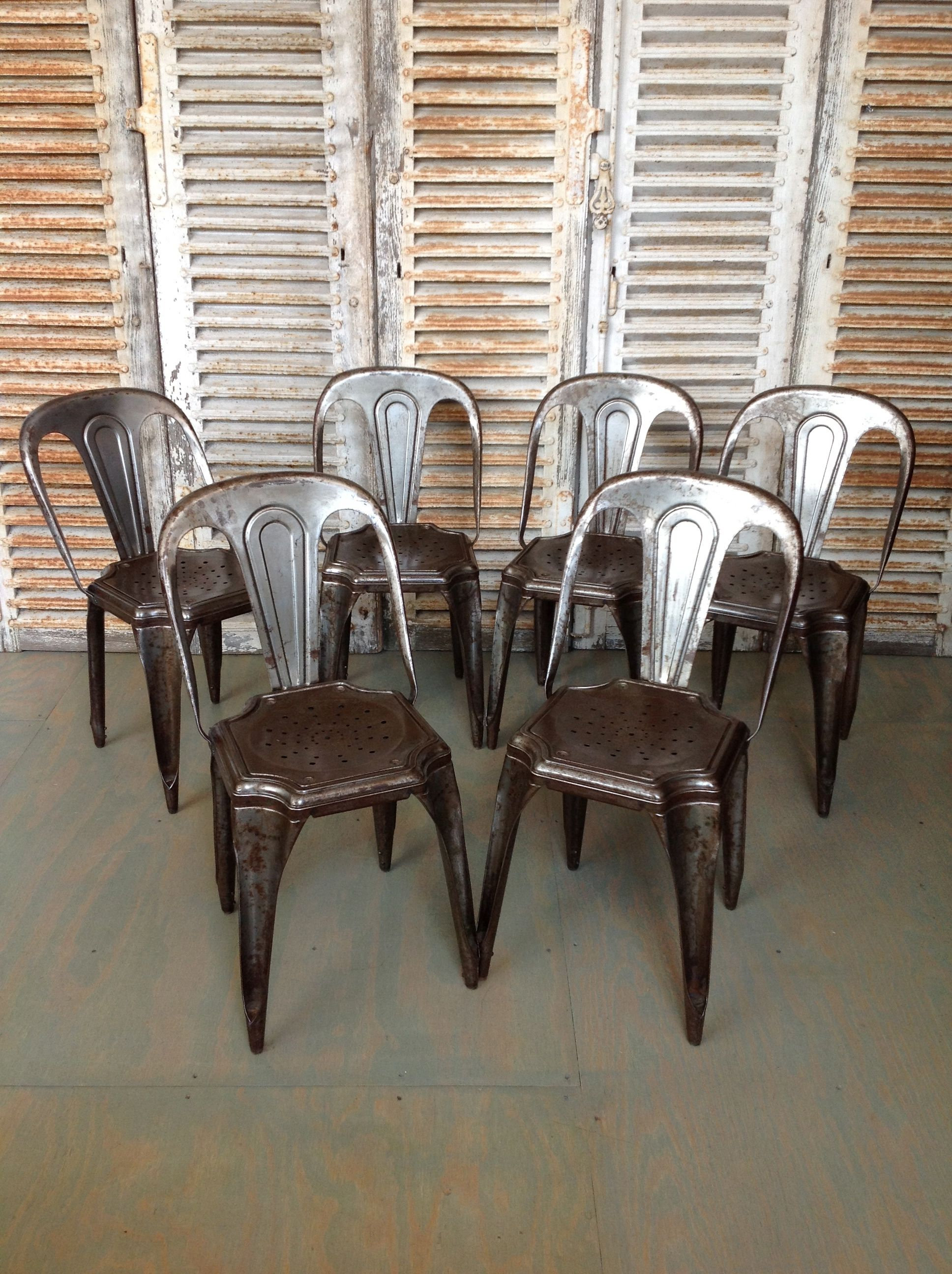 Set Of 4 Metal Stacking Chairs By Tolix