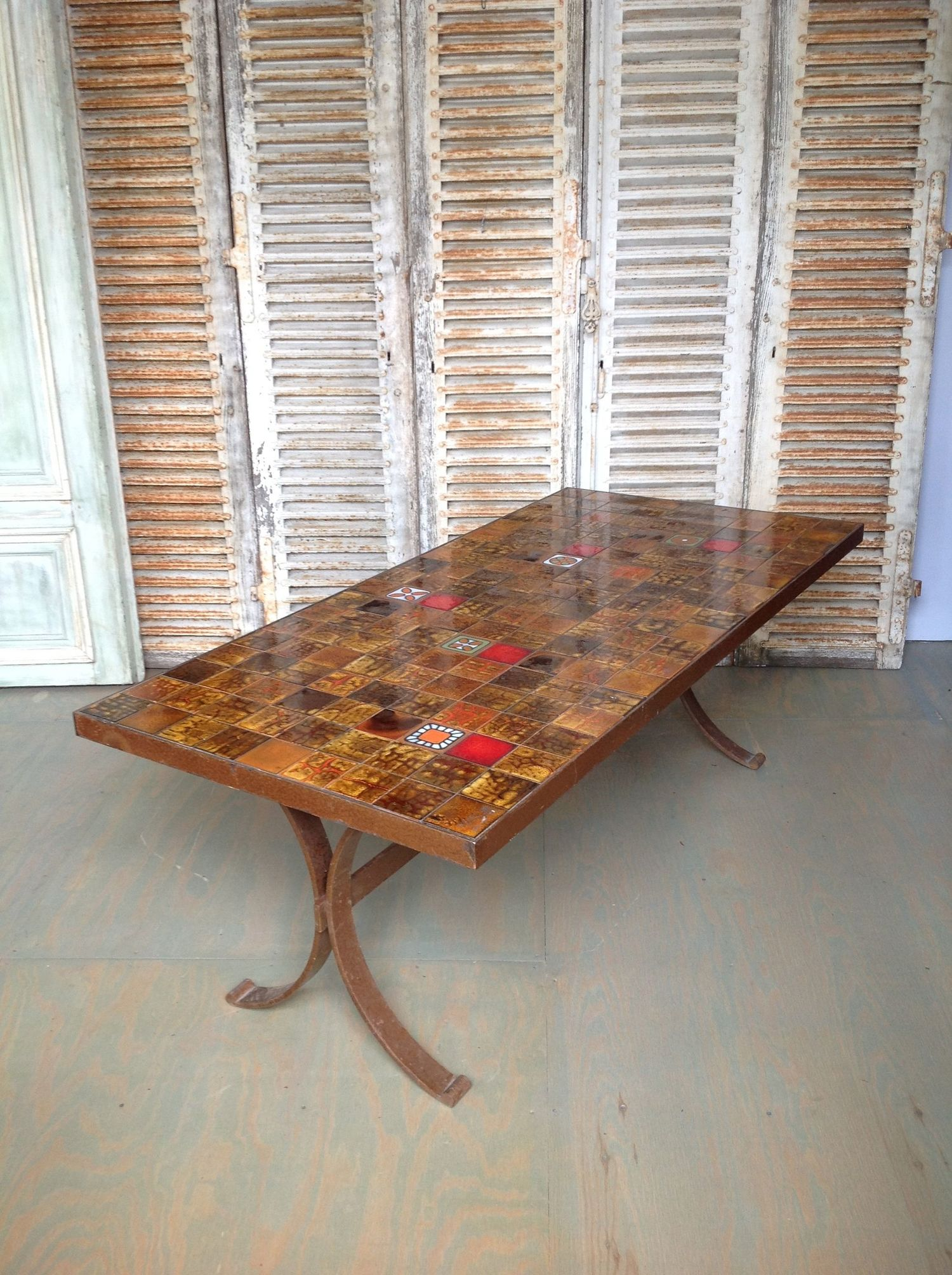 French 1960s ceramic tile dining table 145 antiques french 1960s ceramic tile dining table dailygadgetfo Image collections