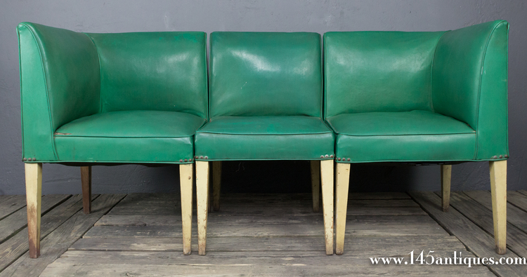 American 1940's 3 Piece Vinyl Banquette — 145 Antiques on