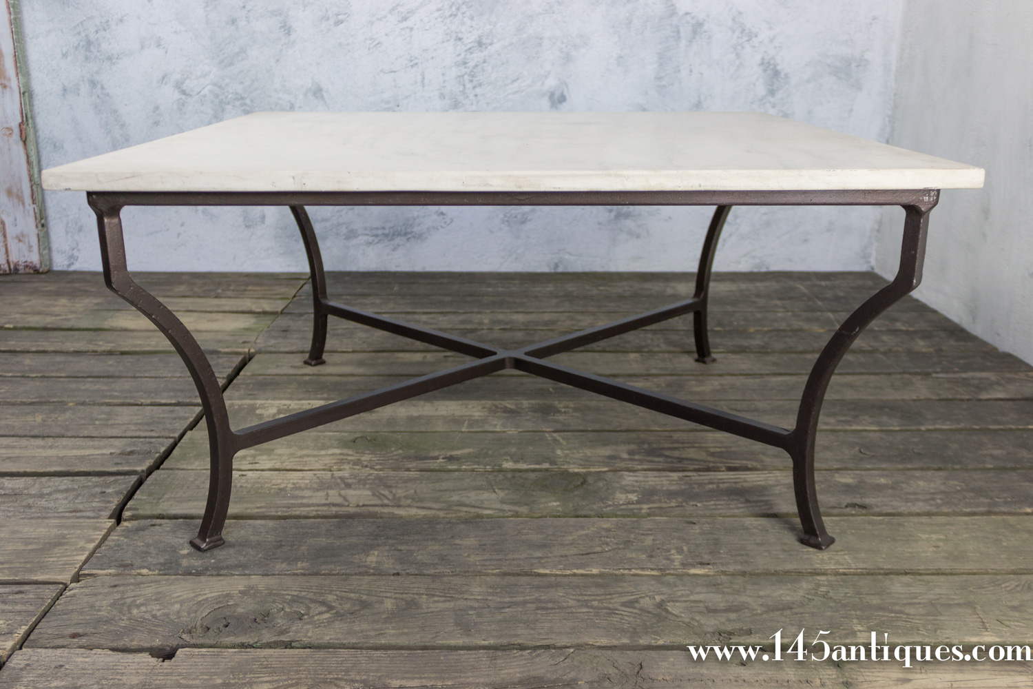 Contemporary Square Marble Iron Coffee Table 145 Antiques
