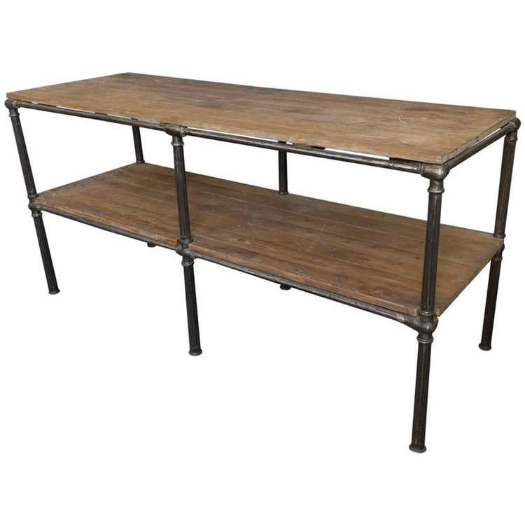Large Industrial Console Table — 145 Antiques