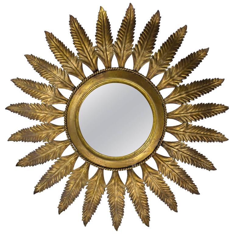 Spanish Gilt Metal Sunburst Flush Mount Ceiling Fixture 145 Antiques