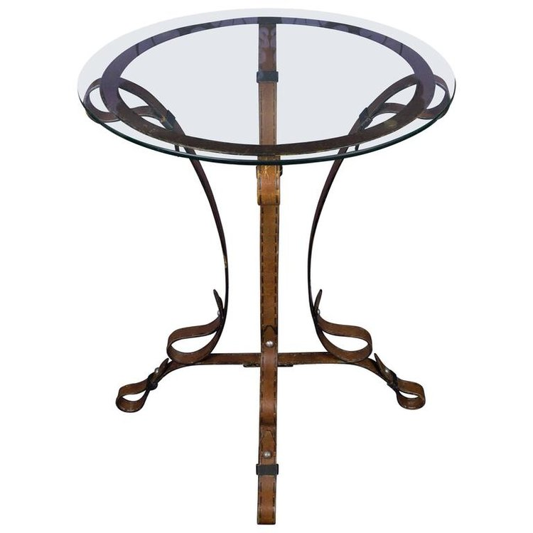 Unique French Leather Wrought Iron Table With Glass Top 145 Antiques